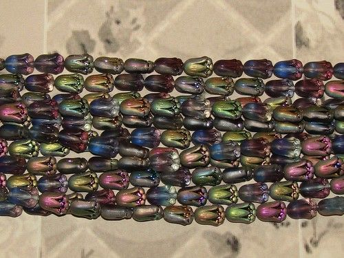 LOOSE CZECH PRESSED GLASS BEADS-TULIPS-MATTE VITRAIL AMETHYST-7MM X 9MM-12 COUNT-$4.19 | eBay
