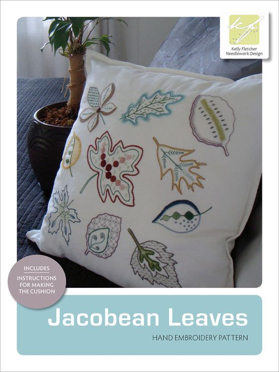Jacobean Leaves embroidered cushion pattern by KFNeedleworkDesign