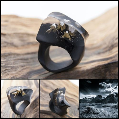 Details about Wood resin ring Mysterious World Handmade