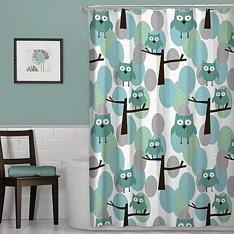 Owl Shower Curtain In Blue Fabric Shower Curtains Owl Shower Cool Shower Curtains