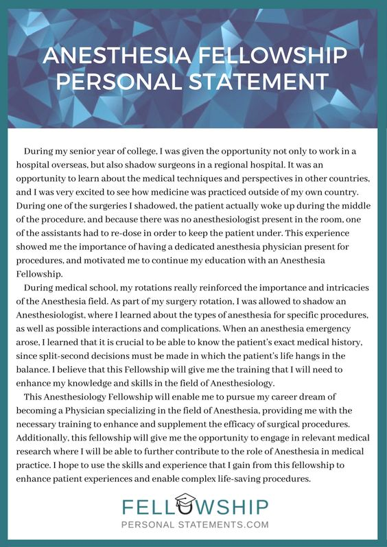 Outstanding anesthesia fellowship personal statement sample that can