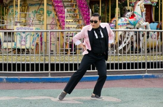 Psy Strikes a Pose before Merry Go Round in Gangnam Style