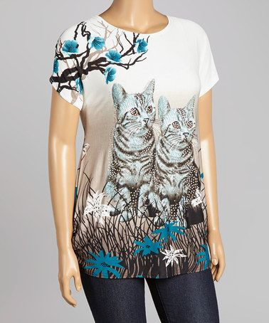 Look what I found on #zulily! Ivory & Gray Cat Ruched Top - Plus by Boom Boom #zulilyfinds
