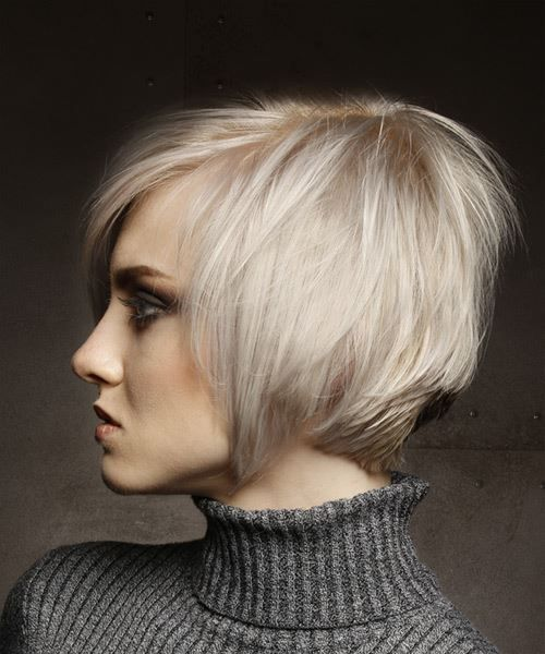 Short Straight Light Platinum Blonde Shag Hairstyle With Side