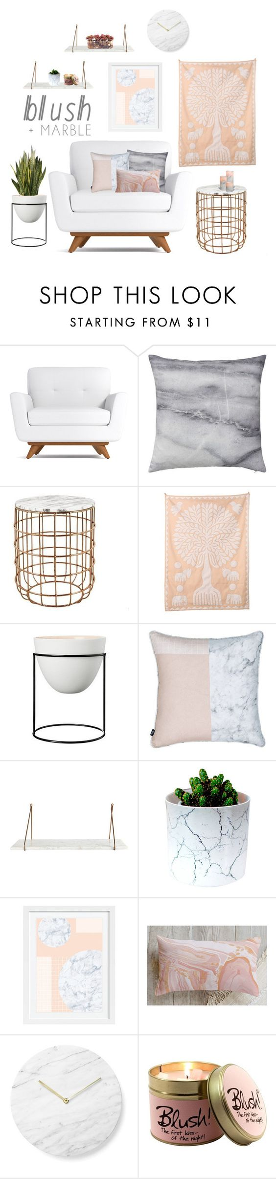 #blush+marble by tothineownselfbtrue on Polyvore featuring interior, interiors, interior design, home, home decor, interior decorating, Cultural Intrigue, WALL, Menu and Bloomingville