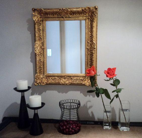 Espejo en marco franc s estilo rococ dorado a la hoja for Espejo marco dorado