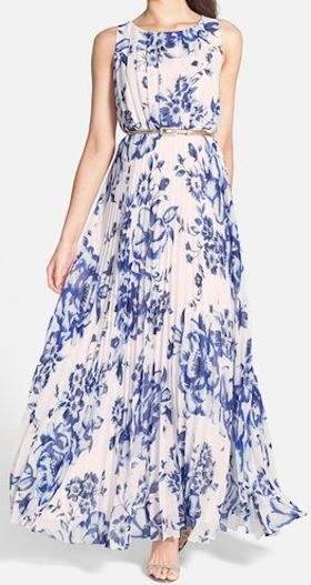 pretty blue floral chiffon maxi dress