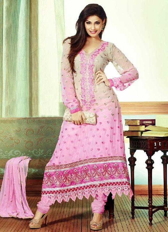 Pure Silk Churidar Salwar Kameez Designs for Girls