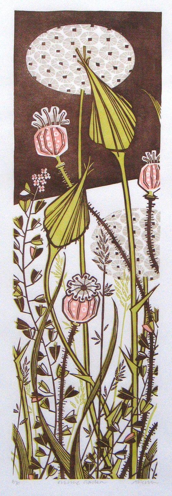 """""""Evening Garden"""" linocut print by Angie Lewin - http://www.angielewin.co.uk"""