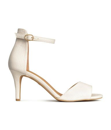 low heel, ankle strap, creamy off-white. love this little work ...