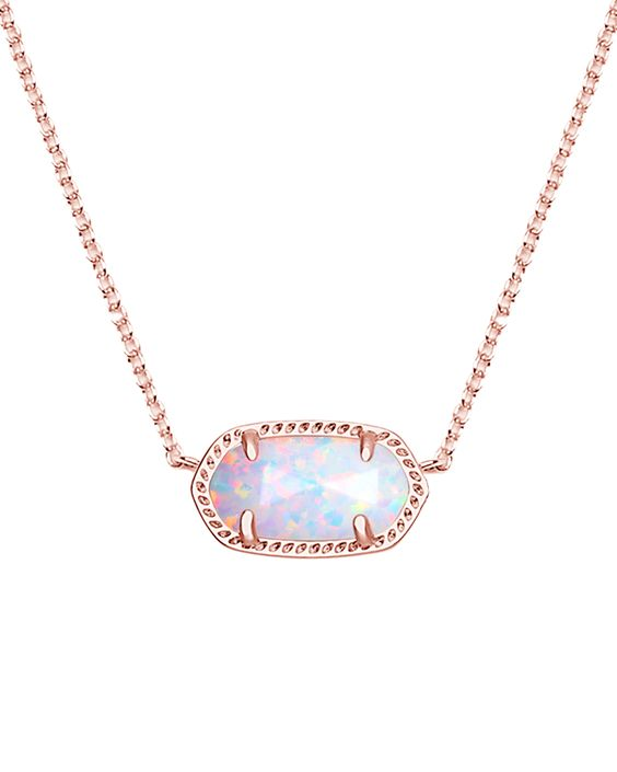 NEW: Elisa Rose Gold Pendant Necklace in White Kyocera Opal - Kendra Scott Jewelry.
