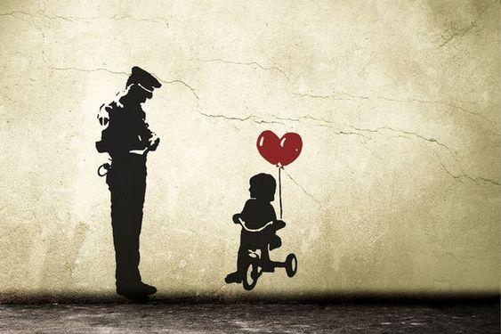 Banksy Wall Decal TRICYCLE COP, police guard and balloon girl, street art wall sticker, graffiti, vinyl art, urban interior, home decor - #balloon #banksy #decal #guard #police #street #tricycle - #balloonndecoration