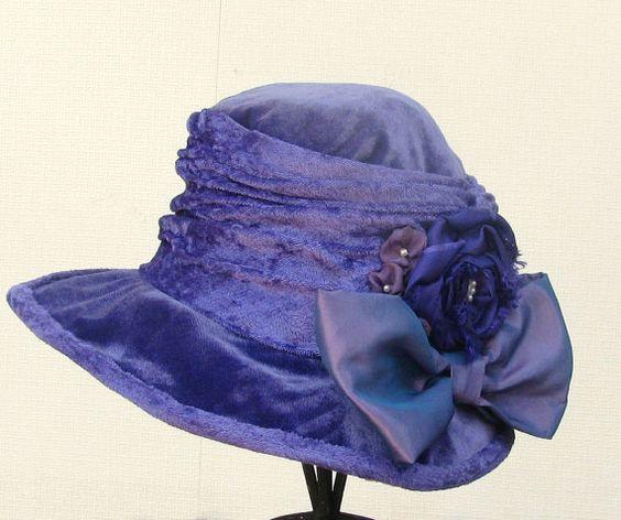 Edwardian Hats Vintage Style Purple Velvet Fabric Hat by BuyGail