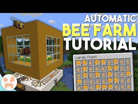 Minecraft Automatic Bee Farm Tutorial Honey Honeycomb Farm Easy Youtube Minecraft Farm Minecraft Automatic Farm Cute Minecraft Houses