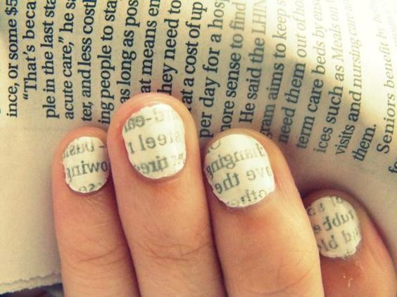 Newspaper Print Nail Polish Design! Love!!