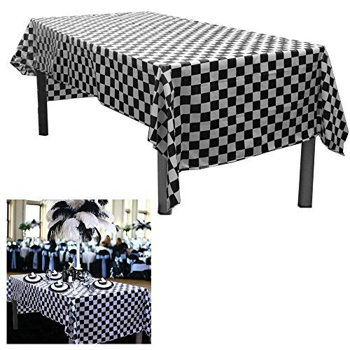 6 Black And White Checkered Plastic Tablecloths Measures 54 X 108 Disposable Plastic Party Table Covers Racing Par Table Covers Plastic Tablecloth Party Table