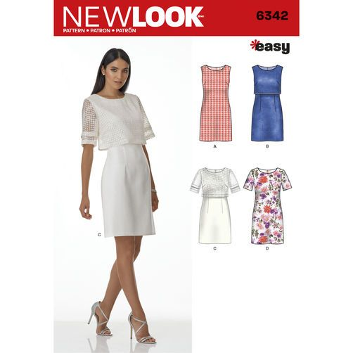 New Look Pattern 6342 Misses' Dress with or without Overbodice: