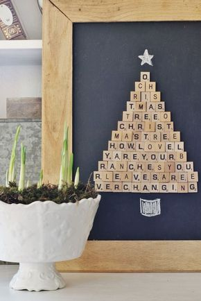 DIY: We love this Scrabble Tile Christmas Tree. Easy to make!