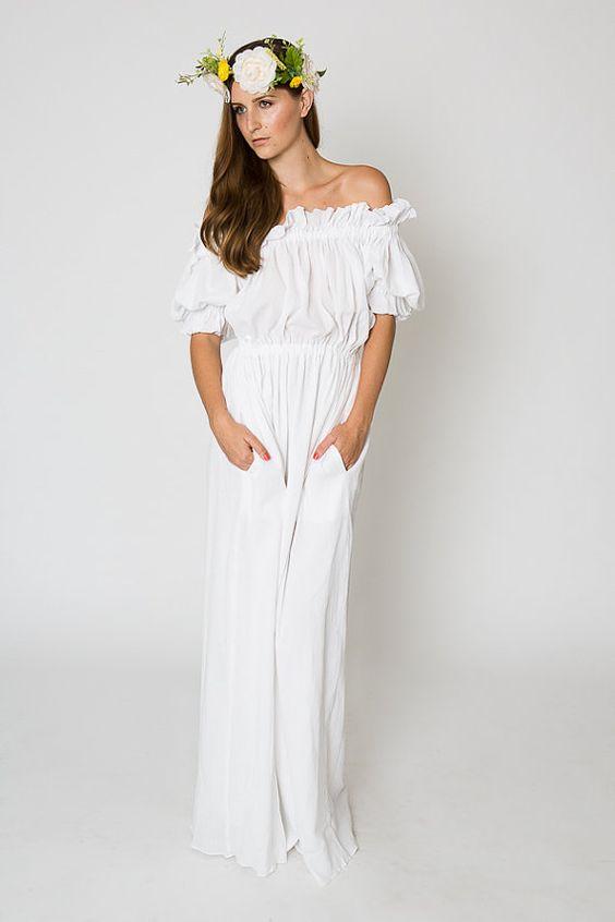 MAXI DRESS White Ivory Red Tan Black Off Shoulder Long Dress Cotton Gauze Bohemian Wedding
