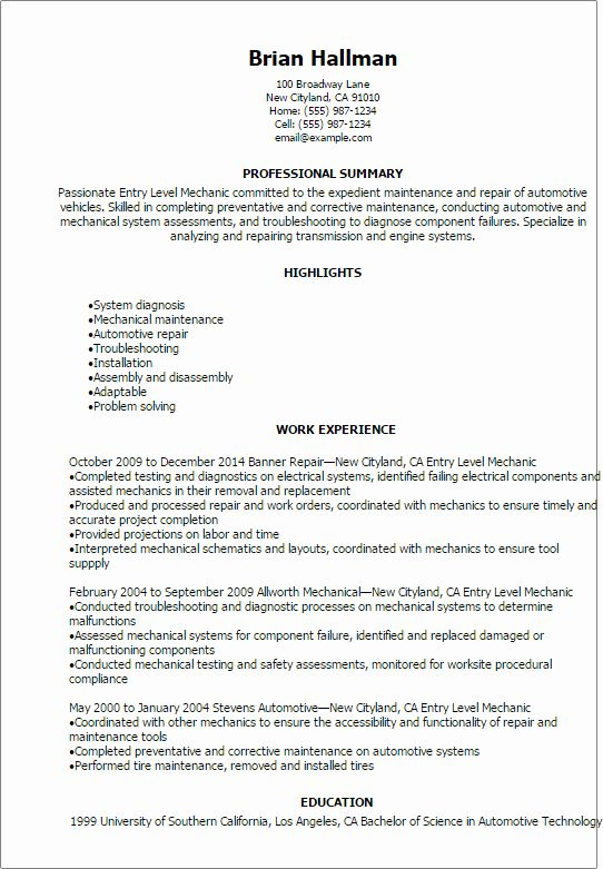 Entry Level Adjunct Professor Resume New Automotive Resume Templates To Impress Any Employer