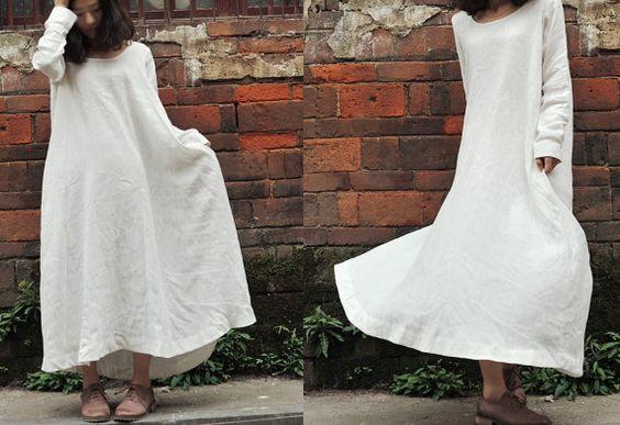 Summer / Autumn Dress Maxi Dress Linen Dress Natural Linen long linen dress/ loose fitting shirt dress in white / long sleeve dress