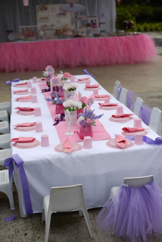 Raphaelle's Ballerina Themed Party – table Setup