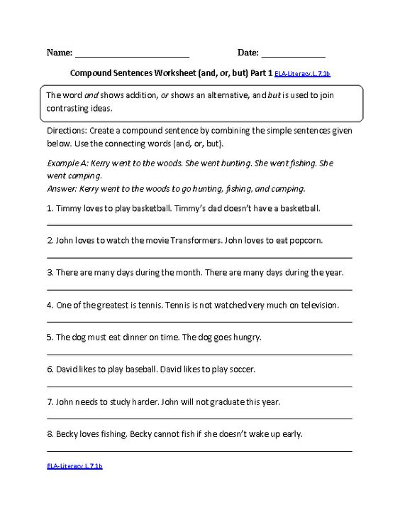 Printables Common Core Ela Worksheets language core standards and common on pinterest compound sentences worksheet ela literacy l 7 1b worksheets by
