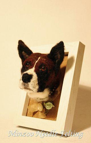 needle felting dog portrait   par Minzoo Needle Felting Sculptures