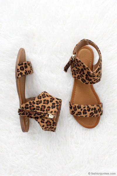 Faux Suede Fringe Tassel Animal Print Sandals-Leopard Print