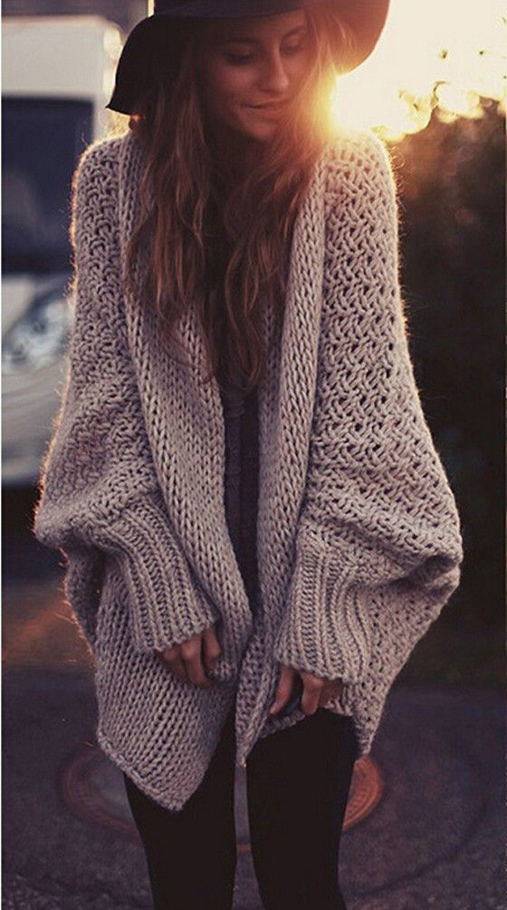 Khaki Plain Hollow-out Long Sleeve Loose Cardigan Sweater | cichic ...