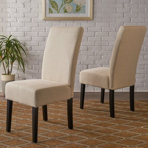 Relyea Parsons Upholstered Dining Chair In 2020 Fabric Dining Chairs Upholstered Dining Chairs Sleek Dining Chair