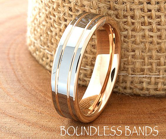 Rose Gold Wedding Band Ring 6mm 18K Two Tone Man by BoundlessBands