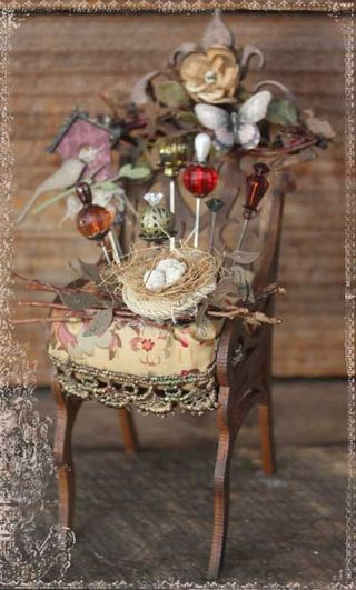 Chair pin cushion, maybe I could use an old doll house chair to make this one. #pincushion #crafting #crafts #create #wooldesigns