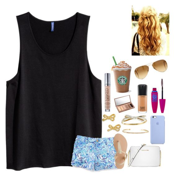 """""""Good morning! """" by pandapeeper ❤ liked on Polyvore featuring J.Crew, Kate Spade, Michael Kors, Stella & Dot, Maybelline, MAC Cosmetics, Urban Decay and Ray-Ban"""