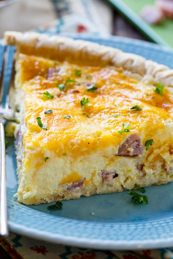 Easy Ham and Cheese Quiche- great way to use up leftover ham!: