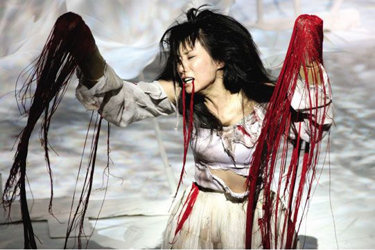 Titus Andronicus, Ninagawa Company 2006. No stage blood was used in this production - silk ribbon was used instead/