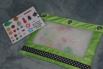 NO SEW I-Spy Bag - love the ribbon covering the zipper. @Belinda Chang Miller