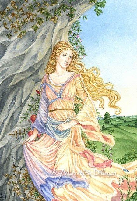 Stampa di arte dea primavera, Persefone, mitologia greca, limited edition 5 x 7