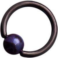 Black Titanium (Blackline) Ball Closure Rings with Dark Purple Titanium Ball