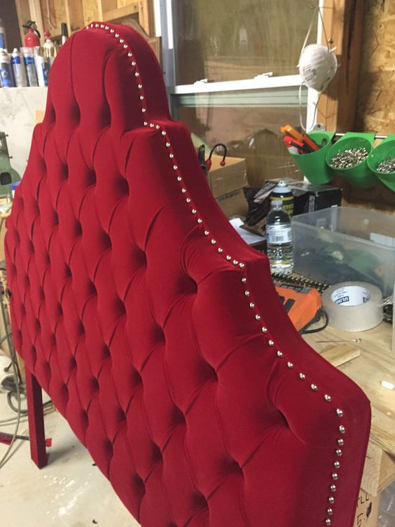 Queen Size Headboard Red Velvet Headboard Tufted by NewAgainUph
