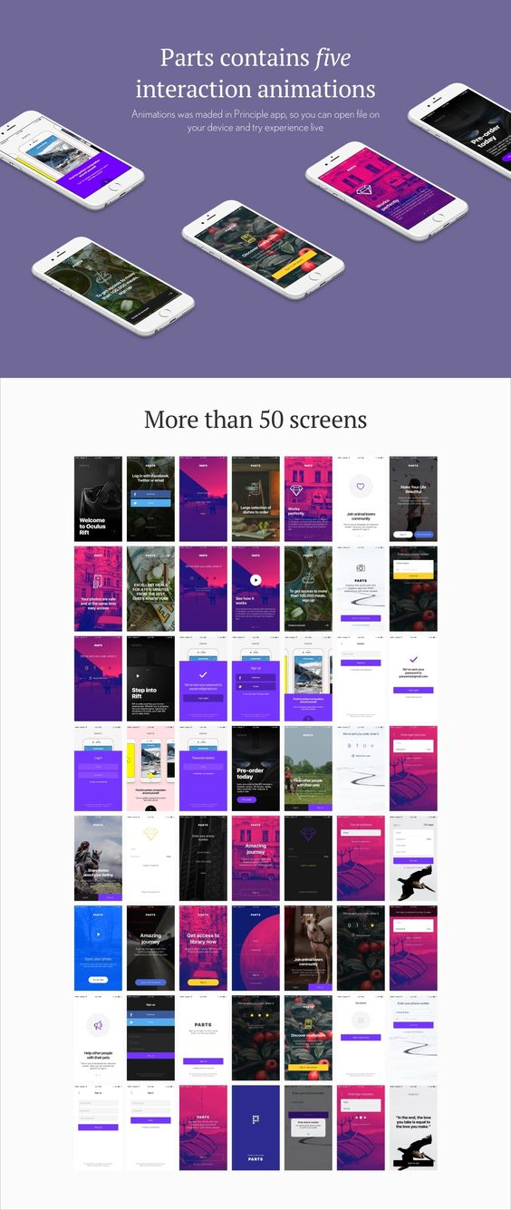 Carefully made Welcome & Login flow. Parts was made to save your time on creating boring screens in Sketch. We made them interesting and different, you can use them as you wish. Also there is awesome interaction animation! (.mov/.prd)