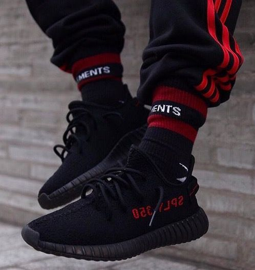 adidas yeezy 350 boost v2 black red herren