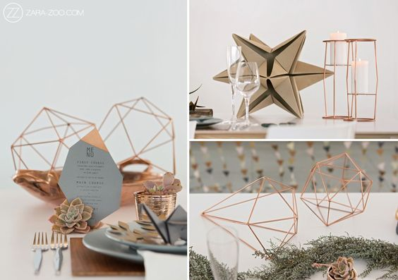 Copper and Grey Geometric shapes and Origami elements in this table decor.