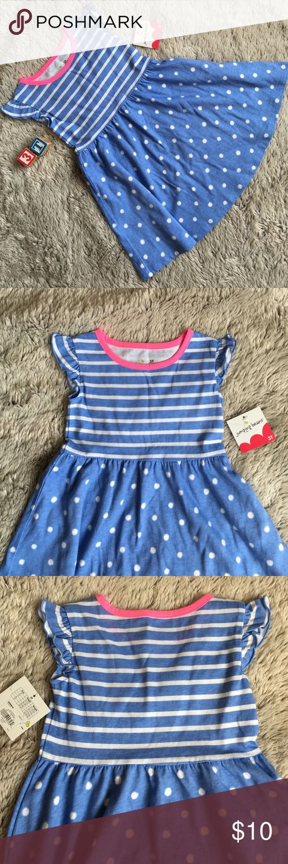 NWT-Sky Blue Skater Dress New w tags. Sky blue dress w striped top and polka dot bottom.  Short ruffled sleeves.  Size 3T.  From a clean, smoke free and pet free home. 🚫no trades Jumping Beans Dresses Casual