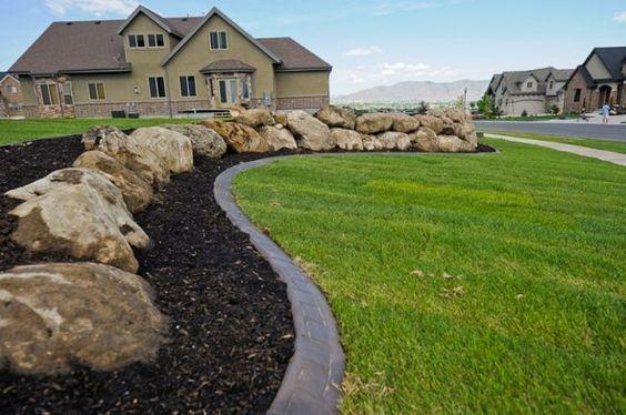 Beautiful curbing and decorative rock