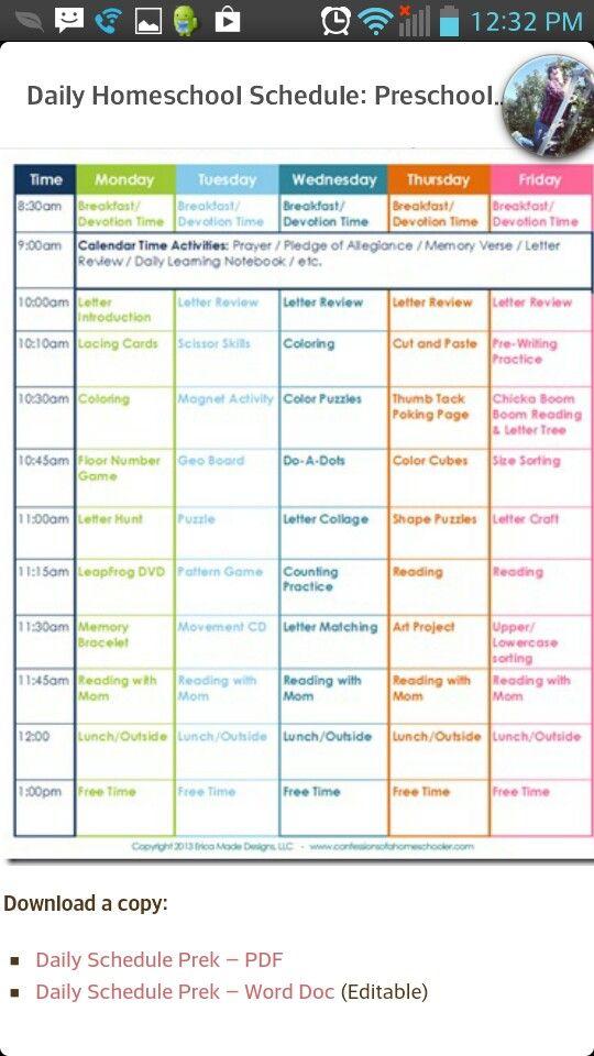 preschool preschool schedule and homeschool on pinterest. Black Bedroom Furniture Sets. Home Design Ideas