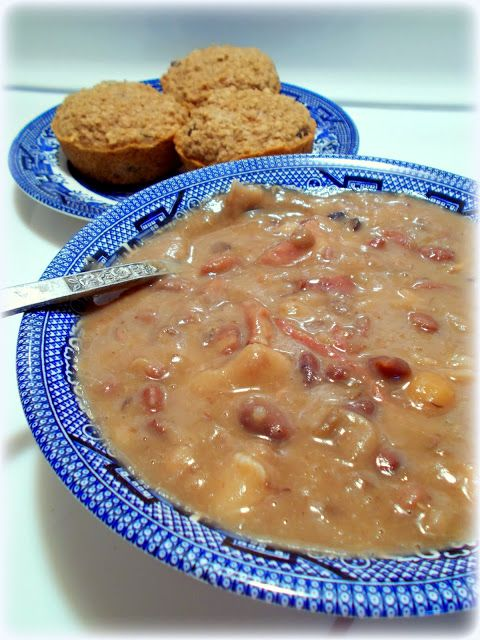 hearty ham & 15 bean soup with oat bran muffins ~ I just love cooking with Hurst Beans! ~ super simple, inexpensive recipe that delivers a lot of flavor!