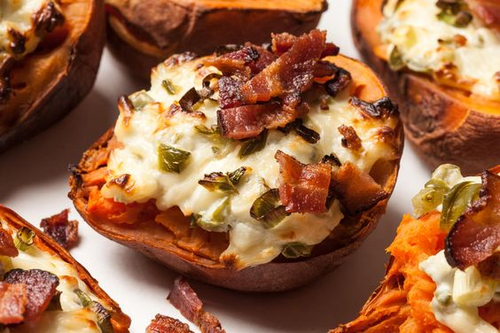 An easy recipe for twice-baked sweet potatoes with bacon.