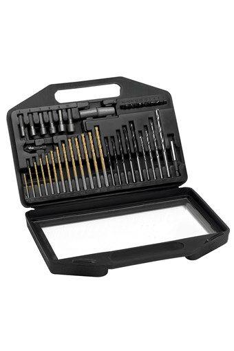 Vente Spécial Bricolage / 13350 / Electroportatif / Coffrets accessoires / Coffret de mèches et de forets en titanium - 42 pièces
