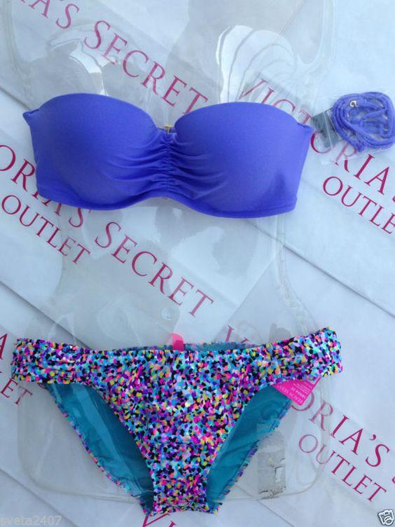 New Sexy Victoria's Secret Madi Bandeau Bikini Set Mix and Match Confetti